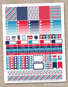 4th of July Printable Planner Stickers PDF Instant Download Weekly Graphics