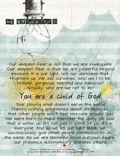 Be Brilliant - You are a child of God! Powerful Beyond Measure, Let It Flow, Marianne Williamson, Light Of The World, Word Up, Bible Art, Meaningful Quotes, Just Me, Digital Photography