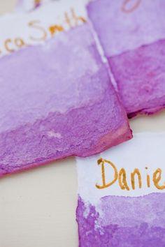 Dip-Dye Watercolor Place Cards