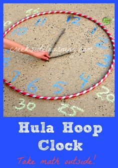Telling Time Activities : Make a Hula Hoop Clock Make a hula hoop clock. Telling time activities for kids. Take math outside. Summer learning activities for kids. More math activity ideas.multiplication practice outside, Telling Time Activities, Teaching Time, Kids Learning Activities, Teaching Math, Telling Time Games, Summer Activities, Telling The Time, Numeracy Activities, Indoor Activities