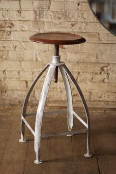 "The Frank -  A new classic with classic farmhouse style.We love where these beauties keep showing up.We love seeing them in your home.We love seeing them in ours!Our adjustable farmhouse stool is constructed of metal and is a great fit for the kitchen or bar, with a swivel seat that you can adjust from 24""-30"" in height. METAL STOOL WITH ADJUSTABLE TOP - RUST SEAT WITH ANTIQUE WHITE BASE14w  14d  24–30h"