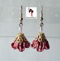 Shibori fabric earrings kanzashiland