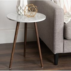 Wrought Studio Berns End Table Table Base Color: Walnut Brown, Table Top Color: White Marble End Tables, Metal End Tables, End Table Sets, End Tables With Storage, Coffee Table With Storage, Small Tables, Side Tables, Coffee Tables, Bern