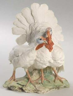 Tay PorcelainTay Figurine: White Turkeys