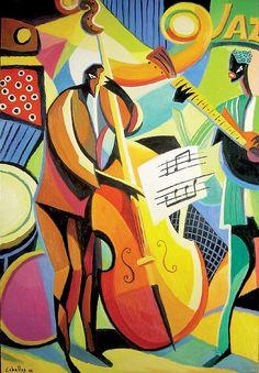 Jazz Band with Upright Bass Player Modern Art - Guillermo Martí Ceballos