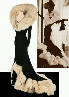 Mae West in a dress designed by Elsa Schiapparelli, 1937 : costumeporn 1930s Fashion, Look Fashion, Fashion Tips, Fashion Design, Winter Fashion, Weird Fashion, Mens Fashion, Fur Fashion, Fashion Vintage