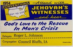 1954 Jehovah's Witnesses convention badge