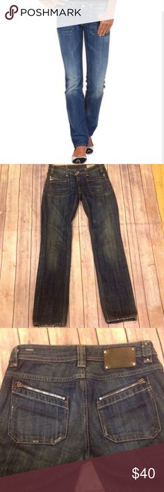 """Diesel Keate Straight Leg Jeans - 25 Diesel Keate jeans, medium wash, front pockets, back pockets with zipper. Tag reads 25/32. Measurements are approximate: waist 14"""" hips 17"""" inseam 29.5"""". 100% cotton. Please measure against jeans that fit you well. Diesel Jeans Straight Leg"""