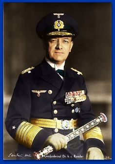 Erich Johann Albert Raeder (1876 – 1960) was a naval leader in Germany before and during World War II. first person to hold that rank since Alfred von Tirpitz. Raeder led the Kriegsmarine (German Navy) resigned in 1943 and was replaced by Karl Dönitz. B/W Photo Colourised by Pearse.