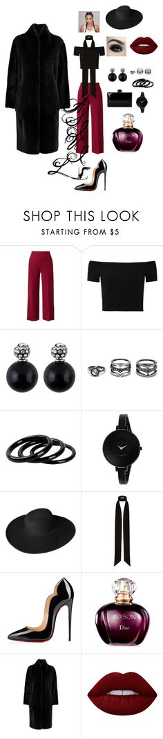 """""""Cool"""" by ika23 ❤ liked on Polyvore featuring The Row, Alice + Olivia, LULUS, Furla, Movado, Dorfman Pacific, River Island, Christian Louboutin, Iris & Ink and Lime Crime"""