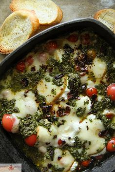 Hot Caprese Dip by Heather Christo, via Flickr.. Important to use not just mozzarella (goat cheese?)