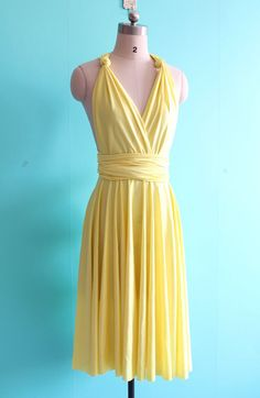 Yellow infinity dresses Convertible dresses by EightFlowers Pale Yellow Bridesmaid Dresses, Cute Yellow Dresses, Divergent Fashion, Hair And Makeup Tips, Convertible Dress, Infinity Dress, Women's Fashion Dresses, Amity Divergent, Dress Skirt