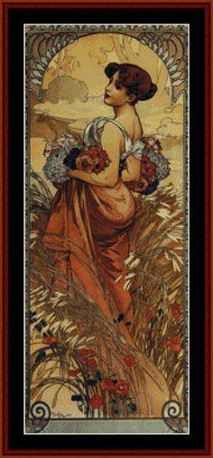 Summer 1903 - Mucha - Cross Stitch Collectibles fine art counted cross stitch pattern