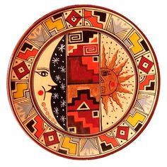 peruvian art   Handpainted Cusco Decorative plate. The geometric designs imitate ...