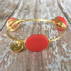 Coral Wire Wrapped Bangle by CYPJewelry on Etsy