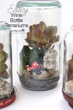 Maybe you should wait until the wine is out of your system, since you will be cutting wine bottles to create these mini wonderlands of succulents, moss, mushrooms and fairies! Find the fun DIY HERE: Recycled Wine Bottle Terrarium Tutorial at Saved By Terrarium Diy, Bottle Terrarium, How To Make Terrariums, Cutting Wine Bottles, Bottles And Jars, Wine Bottle Crafts, Mason Jar Crafts, Mason Jars, Mini Zen Garden