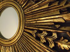SUNBURST STARBURST Round WALL MIRROR Antique Mid Century Hollywood GOLD GILT #HollywoodRegencyMidCenturyRetroVintage