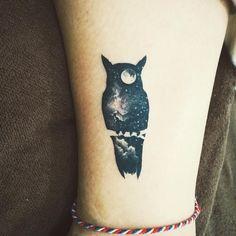 Owl galaxy night sky moon tattoo