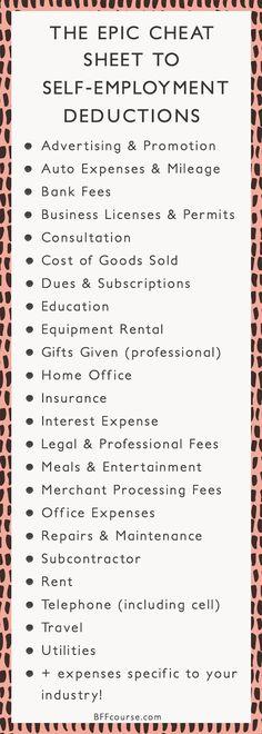 Tax Deductions Write Offs Self Employed Entrepreneur Creative Entrepreneur talk entrepreneur tips - career advice - small business - business tips - business strategy Business Planning, Business Tips, Online Business, Business Motivation, Business Opportunities, Business Management, Money Management, Business Meme, Business Folder
