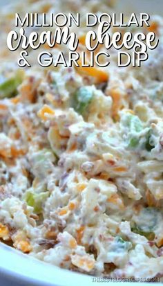 If you need a delicious and easy appetizer to make for your friends and family, then this Million Dollar Cream Cheese and Garlic Dip is the recipe for you! All you need is 5 minutes and a few ingredients to make something that everyone will LOVE! Find the Easy To Make Appetizers, Cold Appetizers, Appetizer Recipes, Cheese Appetizers, Easy Appetizer Dips, Easy Party Dips, Easy Dips To Make, Italian Appetizers, All You Need Is