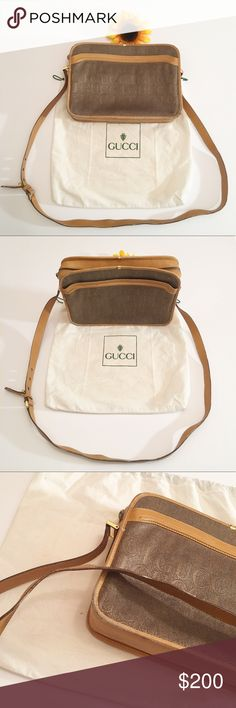 Vintage brown/tan Gucci crossbody purse Very good vintage condition Gucci crossbody bag. Dark and light brown. In great shape for its age! Has normal wearing on the edges/a little on the straps. Please see photos. Comes with dust bag if you want. The inside shows some wearing as well. Small spot on the front as well(not noticeable). Approximately 10 3/4x8 inches with adjustable strap. Serial number 001251308 Gucci Bags Crossbody Bags