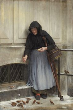 The Woman with the Sparrows Carl Heinrich Bloch - 1886