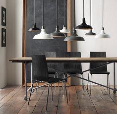 "Flatiron Dining Tables (6 lengths--60-120""). Reclaimed Elm door and cast metal. Center seam."