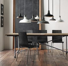 "Flatiron Dining Tables (6 lengths--60-120""). Reclaimed Elm door and cast metal. Center seam."