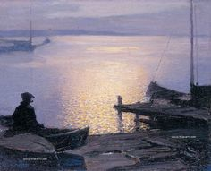 Edward Henry Potthast Along the Mystic River painting for sale - Edward Henry Potthast Along the Mystic River is handmade art reproduction; You can shop Edward Henry Potthast Along the Mystic River painting on canvas or frame. Seascape Paintings, Landscape Paintings, Mystic River, River Painting, American Impressionism, Bonnard, Collaborative Art, Oil Painting Reproductions, Nocturne