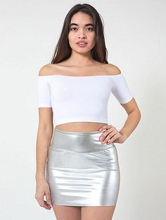 Stay up late in this shiny, sexy mini skirt.