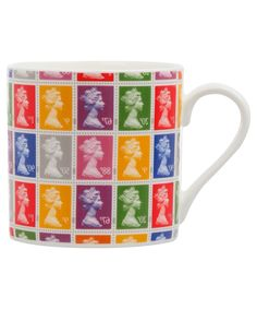 Such a fun pop of colour for your morning java or afternoon cuppa (of tea). #mug #postage #stamps #UK #British #Britain #jubilee #Queen #Elizabeth
