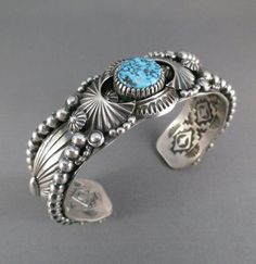 Large Delbert Gordon Sterling Silver Cuff with Kingman Turquoise.