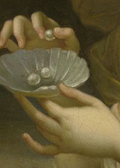 Portrait of a Lady in Allegorical Guise, Holding a Dish of Pearls (detail), attributed to Pierre Mignard (17th century)