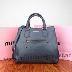 2013 New Miu Miu Embossed Leather Top Handle Bag 88070 in Dark Blue