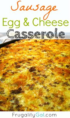 Bubbly, cheesy and delicious recipe for a perfectly fluffy sausage, egg and cheese casserole. Great breakfast recipe to feed a crowd or on Christmas morning!  www.frugalitygal.com