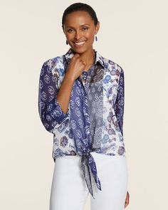 Chico's Patched Paisley Sheer Button Down Front Tie Top Blouse NWT SZ. 3  $89.00 #Chicos #Blouse