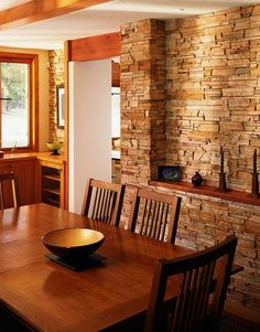 Magnetic Interior Walls Designed with Stones : Classy Dining Room With Awesome Brown Wooden Table Set And Interior Stone Wall Stone Interior, Interior Walls, Indoor Stone Wall, Stone Wall Design, Manufactured Stone Veneer, Stone Accent Walls, Stone Walls, Brick And Stone, Stone Work