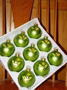Grinch Christmas Ornament (1)  $10.00 at XXENA My boyfriend loves the grinch. Might need to get these