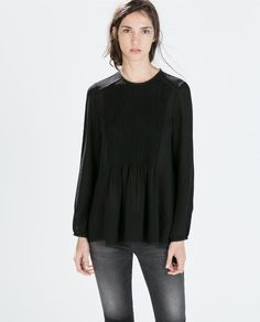 Image 3 of PINTUCK LACE TRIM BLOUSE from Zara