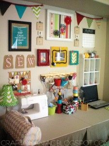I love the simple yet creative way this lady organized her sewing space.  I'm going to steal the frames idea for the girls' rooms!