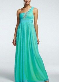One shoulder neon blue green dress
