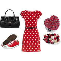 Red, created by #dragonflies0206 on #polyvore. Because I dont wear heels!