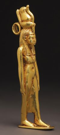 A Rare Gold Statuette of the Goddess Mut Amulet:      Gold.Egypt, Late Period, 25th Dynasty, ca. 700 B.C.
