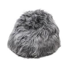 Icelandic Grey Sheepskin Bean Bag - Long Hair