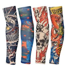 New Arrival 1pc Tatoo Arm Uv Running Stockings Arm Warmer Cover Elastic Fake Temporary Tattoo Sleeves Cool Hipsters Accessory Clear And Distinctive Men's Arm Warmers Men's Accessories