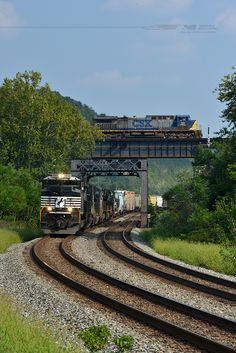 Norfolk Southern train 17M glides west approaching Portsmouth, Ohio, with its daily movement of freight from Linwood, N.C., to Elkhart, In. 17M is crossing the Little Scioto River, which feeds into the Ohio River just out of the scene to the right. CSX train E49222 is soaring high above the NS main as it crosses the Sciotoville Bridge over the Ohio River with an empty hopper train bound for Russell, Ky., from Miller, In. www.nscorp.com