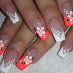 Make an original manicure for Valentine's Day - My Nails Flower Nail Designs, Nail Designs Spring, Cute Nail Designs, Acrylic Nail Designs, Spring Nails, Summer Nails, Hot Nails, Nagel Gel, Flower Nails