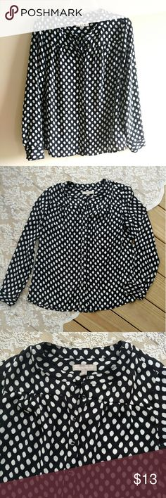 Banana Republic Polka Dot Blouse Adorable black and white polka dot button down blouse. Light and airy chiffon material. Size medium petite. 25 inches long. 21.5 inches from pit to pit laying flat. *There are a couple runs in the fabric. See third pic. 30% off bundles Make Offers Banana Republic Tops Button Down Shirts