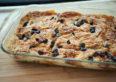 Croissant Bread Pudding recipe - bread pudding made from croissants, in a rich custard, with ginger jam and rum soaked raisins. @Stephanie Moen - think it's as good as what we tasted??