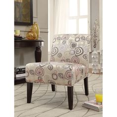 Sleek and beautiful, the Acme Furniture Aberly Accent Chair - Layer Sphere Pattern & Espresso adds a touch of color and modern style to your home. Home Furniture Online, Acme Furniture, Living Room Chairs, Dining Room Furniture, Circle Chair, Comfortable Accent Chairs, Living Room Accents, Upholstered Chairs, Living Spaces